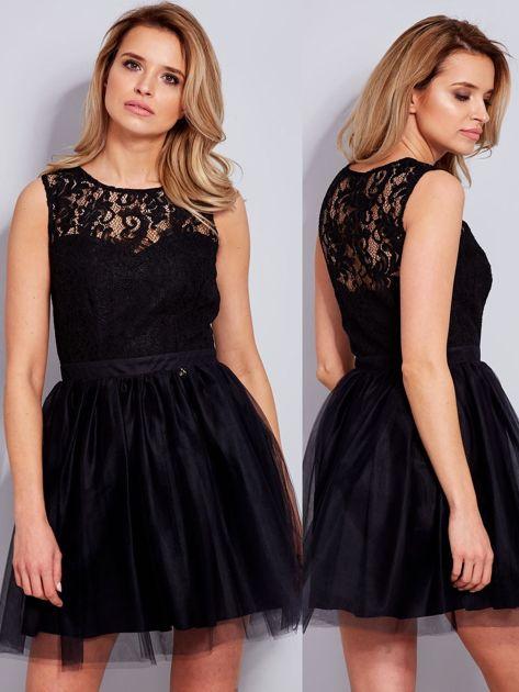 Koronkowa sukienka czarna z tiulowym dołem                              zdj.                              6