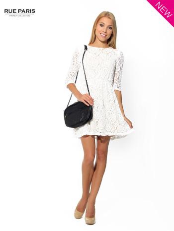 Koronkowa sukienka z rękawem 3/4 w kolorze ecru                                  zdj.                                  2