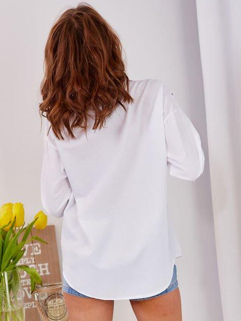 Koszula biała ze ściągaczem                                  zdj.                                  2