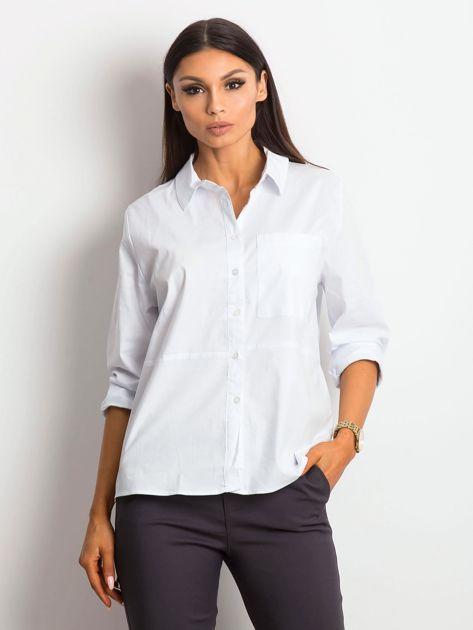 Koszula damska biała z kieszonką                              zdj.                              1
