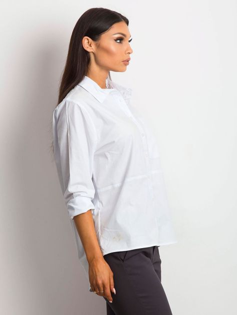 Koszula damska biała z kieszonką                              zdj.                              5