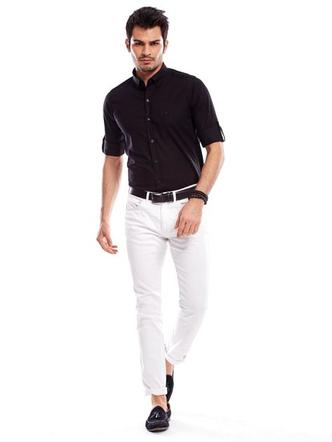 Koszula męska czarna slim fit                              zdj.                              4