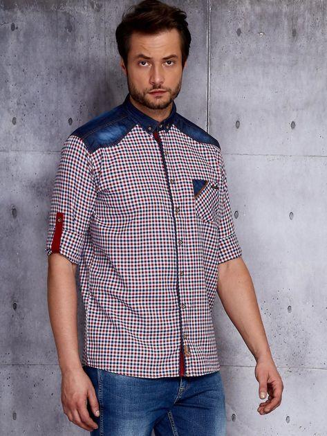 Koszula męska w kratkę z denimowym wykończeniem PLUS SIZE                              zdj.                              5