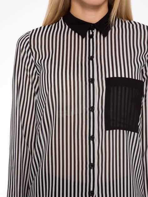 Koszula mgiełka w paski z kontrastową kieszonką, mankietami i kołnierzykiem                                  zdj.                                  10