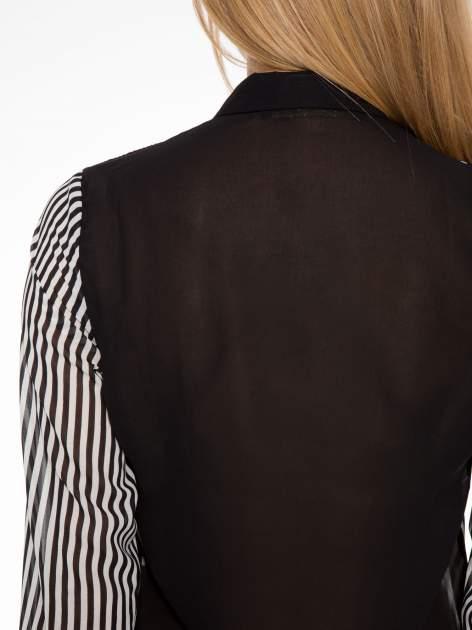 Koszula mgiełka w paski z kontrastową kieszonką, mankietami i kołnierzykiem                                  zdj.                                  5
