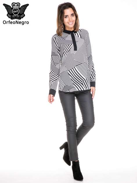 Koszula we wzór zebra print z czarną stójką i mankietami                                  zdj.                                  2