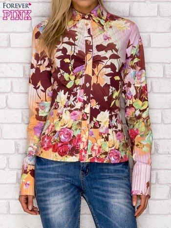 Koszula z nadrukiem kwiatów i pasków fioletowa                              zdj.                              1