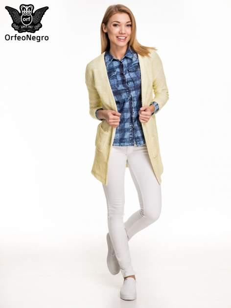Kraciasta marmurkowa koszula z jeansu                                  zdj.                                  2