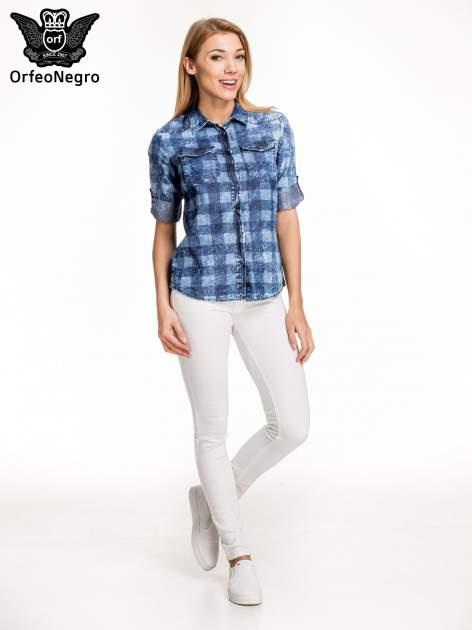 Kraciasta marmurkowa koszula z jeansu                                  zdj.                                  8