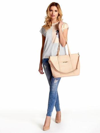 Kremoowa pleciona torba shopper bag ze złotym detalem                                  zdj.                                  6