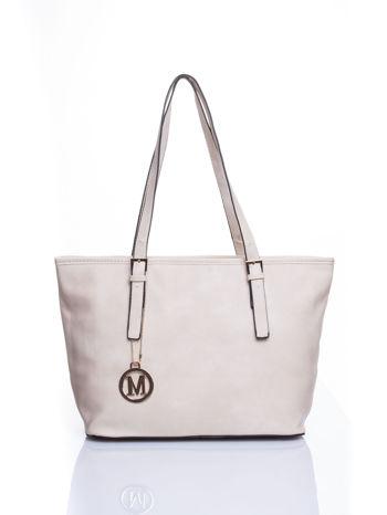 Kremowa torba shopper bag z regulowanymi rączkami