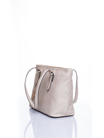 Kremowa torba shopper bag z regulowanymi rączkami                                  zdj.                                  4