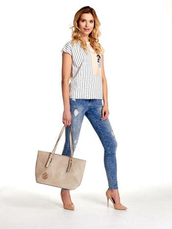 Kremowa torba shopper bag z regulowanymi rączkami                                  zdj.                                  2