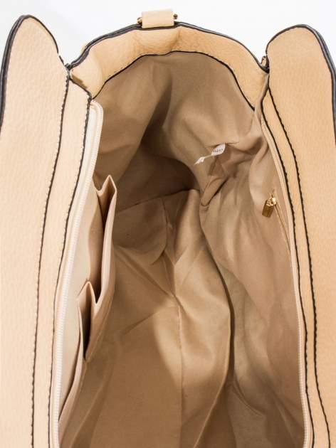 Kremowa torba z klamrami z odpinanym paskiem                                  zdj.                                  7