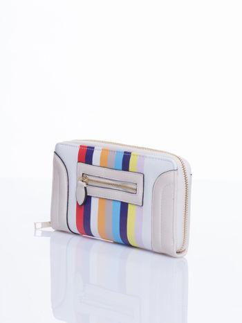 Kremowy portfel w paski z kieszonką                                  zdj.                                  3