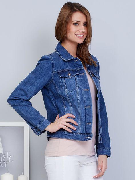 Krótka kurtka jeansowa niebieska                                   zdj.                                  5