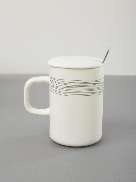 Kubek biały ceramiczny z pokrywką                              zdj.                              2