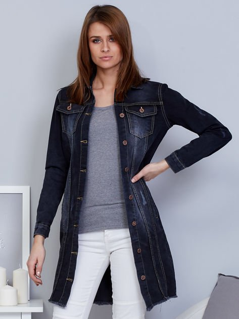 Kurtka jeansowa ciemnoszara z przetarciami                                  zdj.                                  1