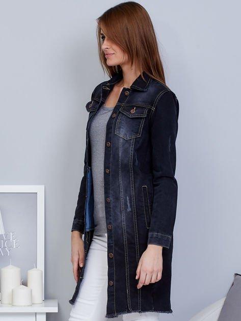 Kurtka jeansowa ciemnoszara z przetarciami                                  zdj.                                  3