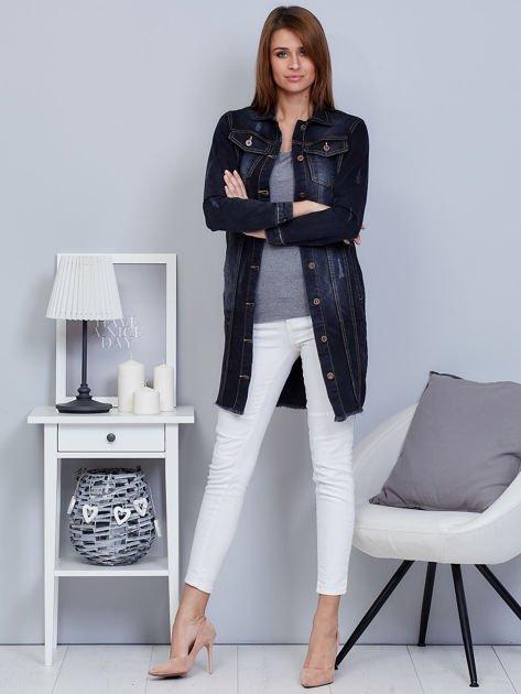 Kurtka jeansowa ciemnoszara z przetarciami                              zdj.                              4