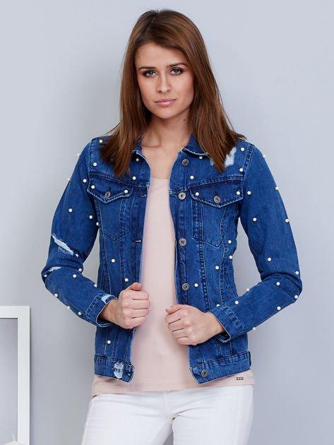 Kurtka jeansowa niebieska z perełkami                                  zdj.                                  1