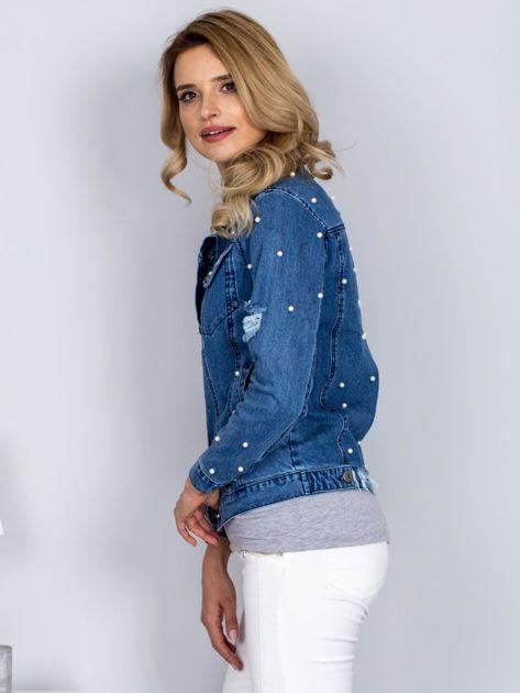 Kurtka jeansowa z perełkami i przedarciami niebieska                              zdj.                              5