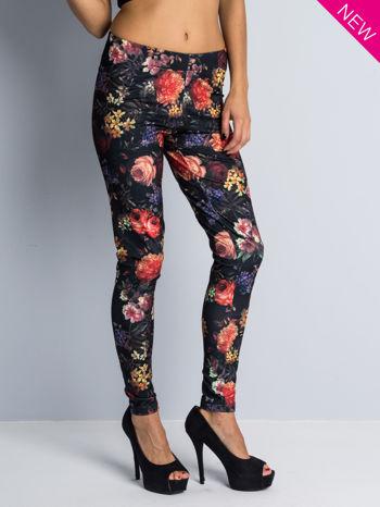 Kwiatowe legginsy elastyczne                                  zdj.                                  2