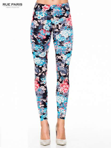 Kwiatowe legginsy w kolorze niebieskim                                  zdj.                                  1