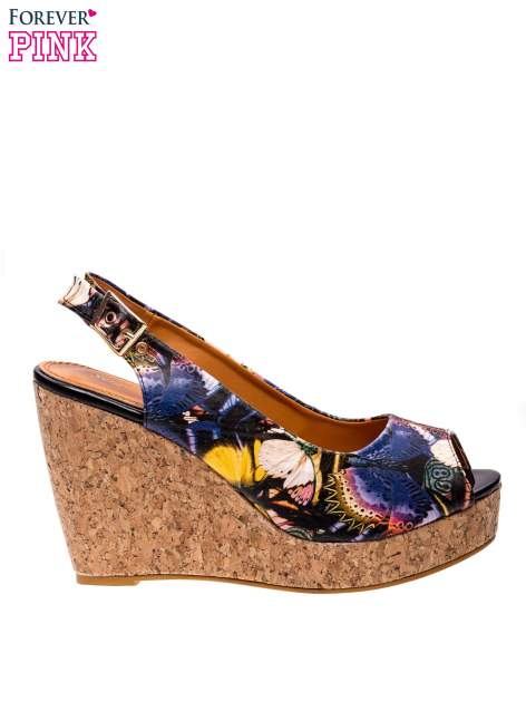 Kwiatowe sandały peep toe na koturnie korku                                  zdj.                                  1