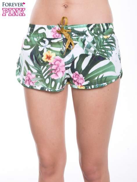 Kwiatowe szorty plażowe wiązane w pasie                                  zdj.                                  1