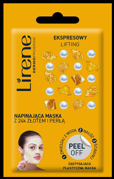 LIRENE Napinająca maska peel off z 24k złotem i perłą EKSPRESOWY LIFTING 10 g