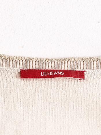 LIU JO Beżowy sweter z trójkątnym dekoltem                                  zdj.                                  4