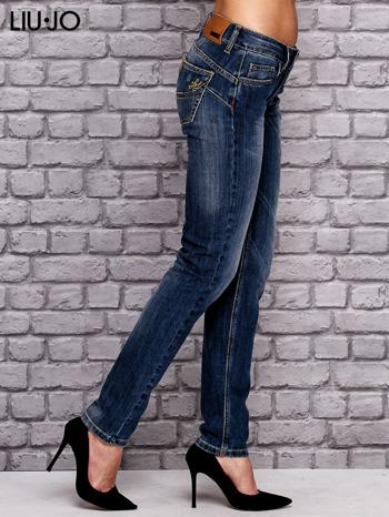 LIU JO Ciemnoniebieskie spodnie jeansowe z prostą nogawką                                  zdj.                                  2