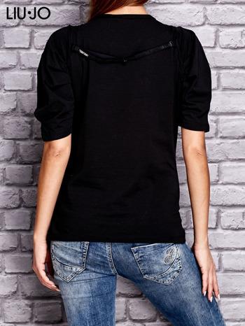 LIU JO Czarny t-shirt z nadrukiem i bufiastymi rękawami                                  zdj.                                  2