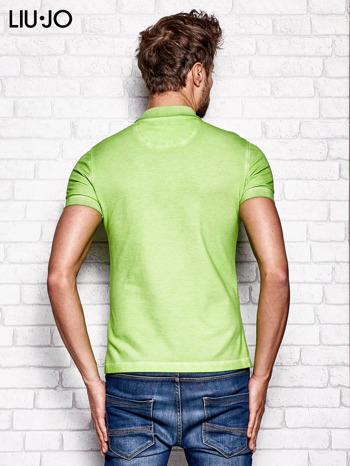 LIU JO Zielona dekatyzowana koszulka polo męska                                   zdj.                                  2