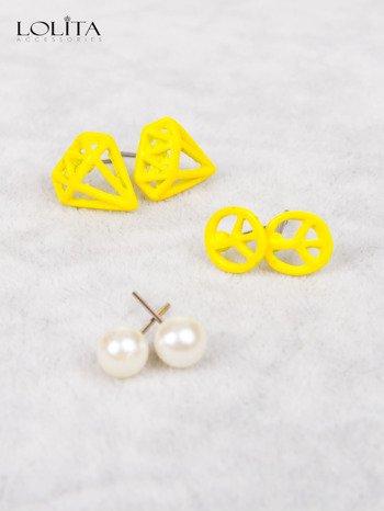 LOLITA Kolczyki żółte PACYFA perła PAKA 3 szt