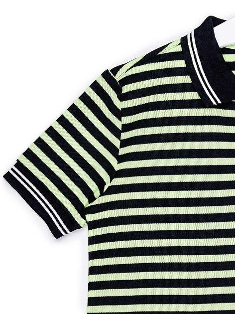 LONSDALE Granatowa koszulka polo chłopięca w paski                                  zdj.                                  4