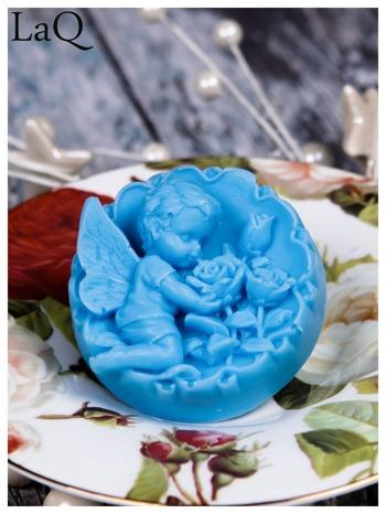 LaQ Mydełko Anioł z różami w medalionie - niebieski / Zapach - wata cukrowa BEZ SLS i SLES