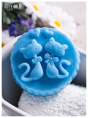 LaQ Mydełko Dwa kotki w medalionie - niebieski / Zapach - wata cukrowa BEZ SLS i SLES                                  zdj.                                  1