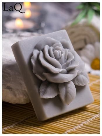 LaQ Mydełko Róża w prostokącie - szary / Zapach - wata cukrowa BEZ SLS i SLES