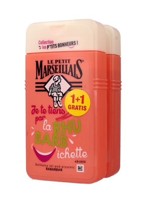 Le Petit Marseillais Żel pod prysznic Rabarbar 1+1 gratis 250 ml x 2