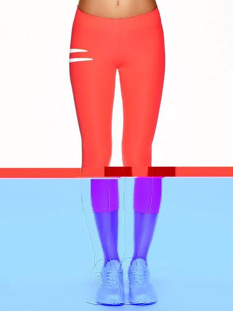 Legginsy na siłownię z kontrastowym logo fluokoralowe                                  zdj.                                  2