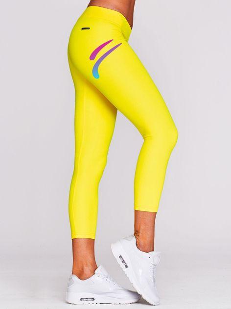 Legginsy na siłownię z nadrukiem logo żółte                                  zdj.                                  1
