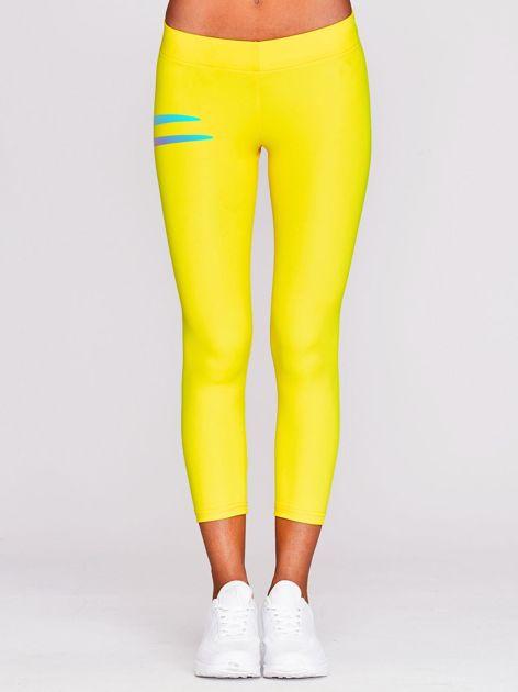 Legginsy na siłownię z nadrukiem logo żółte                                  zdj.                                  2