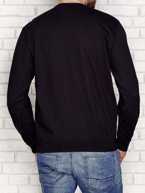 Lekko ocieplana bluza męska z napisem DENIM czarna