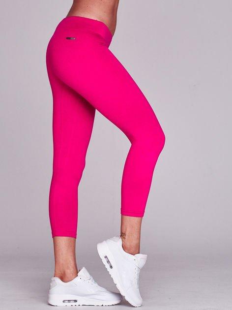 Lekko ocieplane legginsy fitness o długości 7/8 ciemnofuksjowe                              zdj.                              4