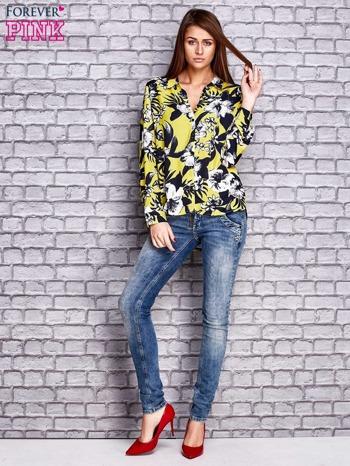 Limonkowa koszula z motywem kwiatowym                                  zdj.                                  4