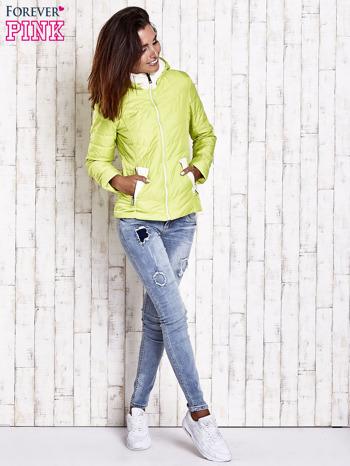 Limonkowa pikowana kurtka z jasnym wykończeniem                                  zdj.                                  6