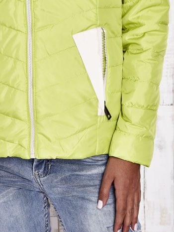 Limonkowa pikowana kurtka z jasnym wykończeniem                                  zdj.                                  10