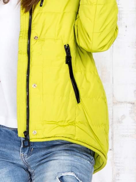 Limonkowa przejściowa kurtka puchowa z dłuższym tyłem                                  zdj.                                  7